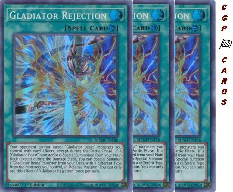 Super Rare 1st Edition Yu-Gi-Oh M//NM x3 Gladiator Rejection MP20-EN186