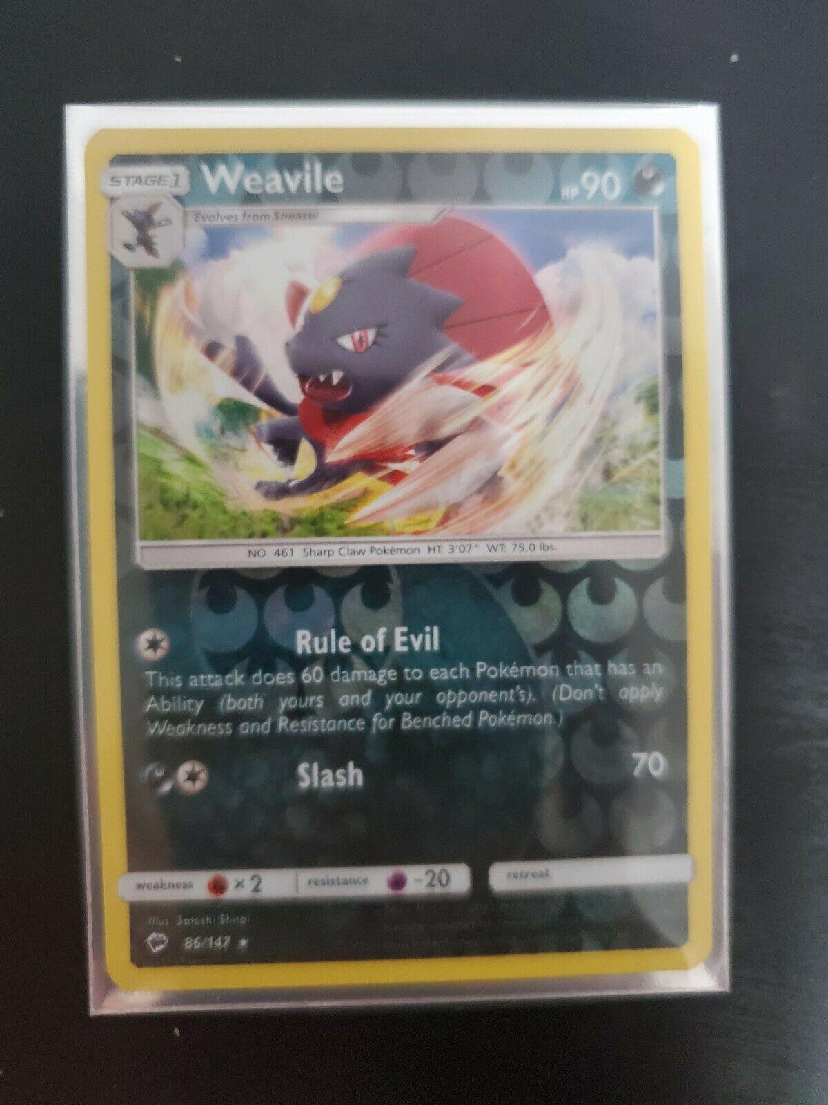 Weavile 86/147 Burning Shadows Reverse Holo Rare NM Pokemon Card - Image 1