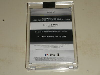 2019 Topps Luminaries Home Run Kings PATCH Auto Mike Trout 02/15 - Image 2