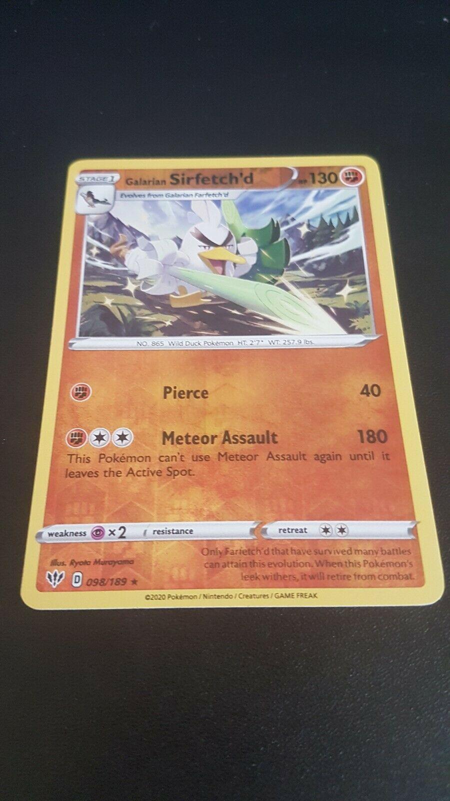 Galarian Sirfetch/'d Rare Pokemon Darkness Ablaze Card # 98 4x SWSH03-098