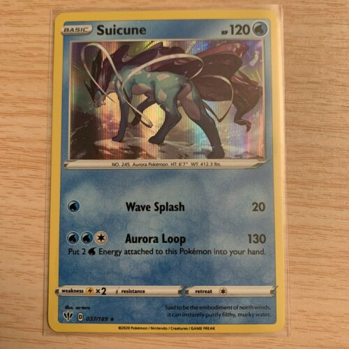 Pokemon 037//189 SuicuneRare Holo SWSH03 Darkness Ablaze Trading Card Game TCG