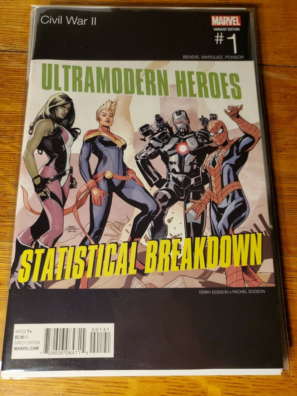 Civil War II #1 Dodson Team Captain Marvel Hip Hop Variant Marvel